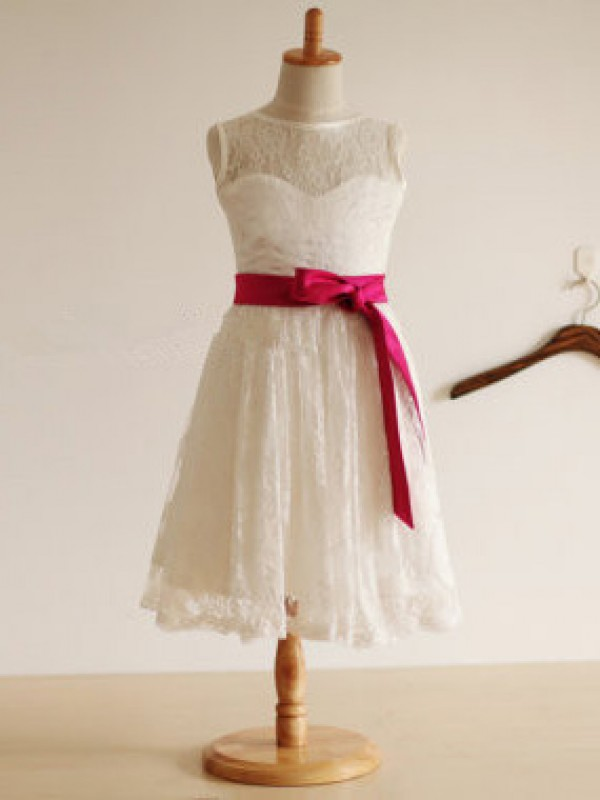 A-line/Princess Jewel Sleeveless Sash/Ribbon/Belt Tea-Length Lace Dresses