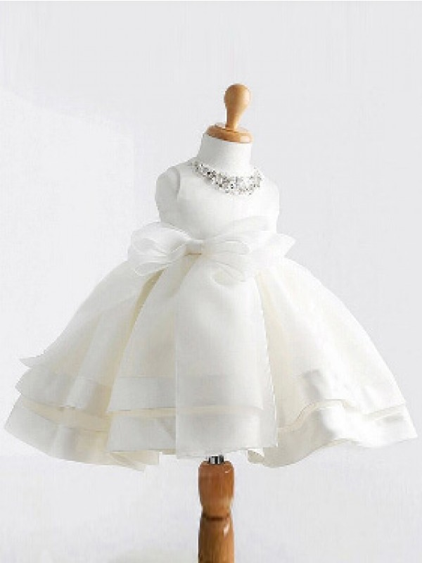 Ball Gown Jewel Sleeveless Bowknot Tea-Length Satin Dresses